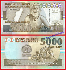 MADAGASCAR 25000 Francs 5000 Ariary 1993 Pick 75Aa SC / UNC