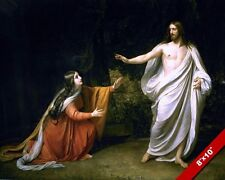 RISEN LORD JESUS CHRIST & MARY AT TOMB PAINTING CHRISTIAN BIBLE ART CANVAS PRINT