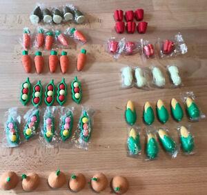 55 Cute Fruits Vegetables Eraser Gifts Cartoon School Kid Student Erasers