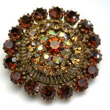 Ancienne Superbe broche cabochon strass Ambre verre cristal métal doré