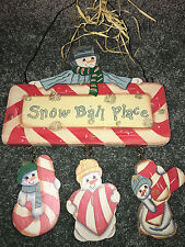 Snowman HANGING DOOR PLAQUE Snow Ball Place VINTAGE CHRISTMAS Candy Cane WOODEN