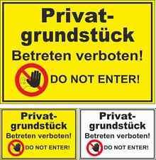 Verbotsschild Privatgrundstück Betreten verboten Do not enter! Hinweisschild #A1