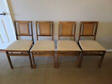 Stakmore NY Vintage Mid-Century Arts & Crafts Wicker-Vinyl Folding Wooden Chairs
