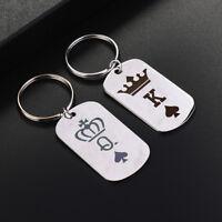 Romantic King Queen Pendant Keyring Key Holder Unisex Decor Couple Keychain LI