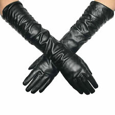 Women Super Long Leather Glove  Black PU Leather Long Opera Evening Gloves