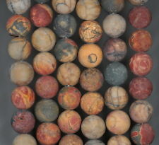 12MM PICASSO JASPER GEMSTONE MATTE BROWN ROUND LOOSE BEADS 7.5""