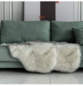 Carvapet Luxury Faux Fur Couch Seat Cushion Area Rug 2 Piece NEW Black & White