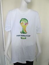 """FRUIT OF THE LOOM - WHITE """"FIFA BRAZIL"""" S/SLEEVED T- SHIRT SIZE M -100% COTTON"""