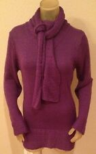NWT Kim Rogers PURPLE V-Neck Sweater w/ Matching SCARF Womens Medium M