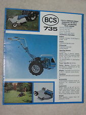 1970's BCS 735 GARDEN TILLER TRACTOR AND ATTACHMENTS 8 PAGE BROCHURE MINT