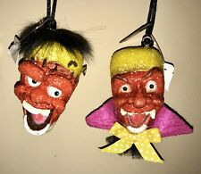 Katherine's Collection 2 Halloween Frankenstein/Dracula Candy-Corn Ornament Set
