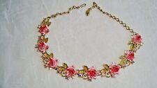 Vintage Gold Tone Pink Enamel Roses & Aurora Borealis Rhinestone Necklace
