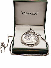"""Primemax: Pocket Watch:""""Silver Classic Car"""" Cover Case, Silver Finish,With Chain"""