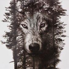 Flash Einmal Temporary Klebe Tattoo Wolf Wald Körper Body Sticker Geschenk Party