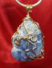 Blue Sodalite wire wrap sp snake chain necklace natural stone pendant #507