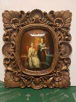 quadro dipinto a mano OLIO su legno cornice foglia oro baroccA classico antico