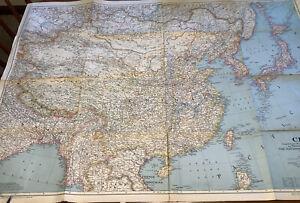 Original National Geographic Map 1945 China