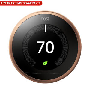 Google Nest Learning Thermostat 3rd Gen (Copper) + 1 Year Extended Warranty