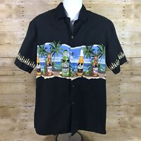 Pacific Legend Black Beer Hawaiian Aloha Camp Shirt Beach Party Luau Mens Large