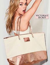 NWT VICTORIAS SECRET TOTE BAG BEIGE Rose Gold Glam -LIMITED EDITION - 2017 New