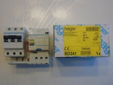 HAGER Réf BD341 + NF340 DISJONCTEUR DIFFERENTIEL 3P 40A 30mA TYPE  AC 230V NEUF