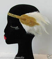 1920s Ivory Cream Gold Feather Headpiece Flapper Headband Great Gatsby Vtg Q56