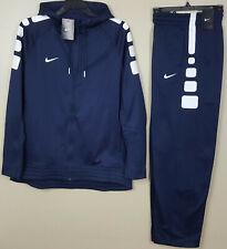 Nike Basketball Suit Elite Hoodie +Pants Navy Blue White Rare New (Large Medium)