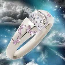 NEW Fashion Purple Butterfly Ring Crystal Size 7 White gold plated FREE SHIPPING