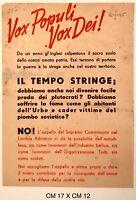 """RSI """"VOX POPULI VOX DEI!"""" volantino di propaganda Repubblica Sociale Italiana"""