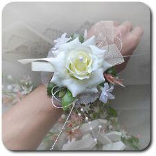 Armband Blume Rosa Perlen  Schleife Bändchen Blumenmädchen Brautjungfer Hochzeit