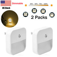 2Pcs Dimmable LED Night Light Plug In kids Dusk to Dawn Sensor Wall Lamp Bedroom