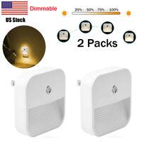 2Pcs Dimmable LED Night Light Plug In kids Dusk to Dawn Sensor Wall Lamp Bedroom