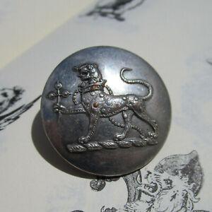 Antique Livery Button Hervey Bathurst Leopard Crown Cat Family Crest Heraldry