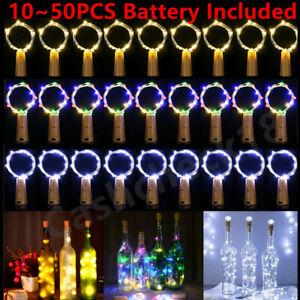 10~50 PCS Cork Bottle Lights Stopper Fairy String Wedding Party Events 2M 20LED