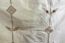100% Pure Silk Cream Embroidered Aztex Curtain fabric 1m