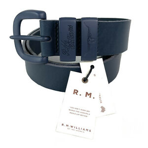 """RM Williams Drover 1 1/2"""" Blue Cowhide Leather Belt Sz 34 Made In Australia NEW"""