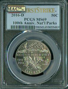 2016-D NATIONAL PARK HALF PCGS MAC MS-69  RAREST IN SERIES SPOTLESS .