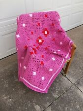 "Afghan/Blanket/Throw - Dark Pink Light Pink & Red - Size 38"" X 54"" - Great Gift"