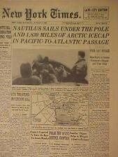 VINTAGE NEWSPAPER HEADLINE~U.S. NAVY NAUTILUS SUBMARINE UNDER ARCTIC NORTH POLE