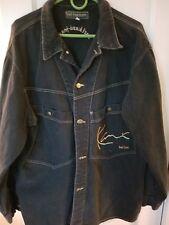 Vtg Karl Kani Jeans Mens Dark Denim Jacket Gold Stitching Sz large
