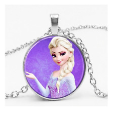 Frozen Elsa Necklace Disney Princess Purple Silver Girls Gift In Organza Bag