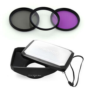 58mm 16:9 Wide Lens Hood,UV CPL + Filter Kit for Sony DCR-VX2000,PD170 camcorder