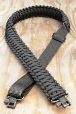 Adjustable Paracord Rifle Gun Sling Strap With Swivels Solid Black