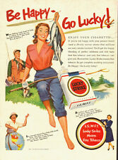 1951 tobacco ad, Lucky Strike Cigarettes, Great Art! Gal Fishing- 060113