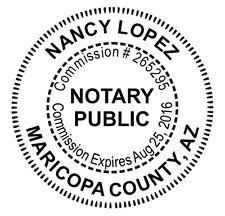 Arizona Custom Round Self Inking Notary Public Seal Rubber Stamp Notary