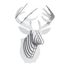 """CARDBOARD SAFARI """"BUCK THE DEER""""   white, 16""""x12""""x9"""", cardboard   wall antlers"""