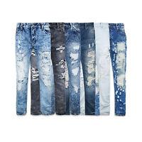 MENS JEANS biker DENIM Fashion Designed slim Fit Biker Distressed ripped jeans