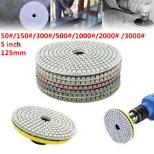 "7pcs 5""/125mm Wet /Dry Diamond Polishing Pads Concrete Marble Grinding Saw Disc"