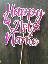 Personalised Glitter Happy Birthday cake topper 21st key pink cake decoration