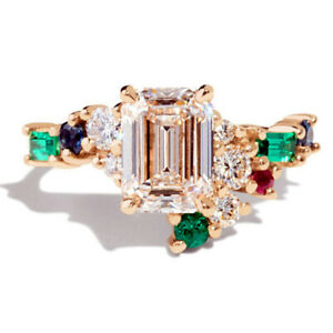 Gorgeous 18k Yellow Gold Plated Rings Emerald Cut Cubic Zirconia Rings Size 6-10